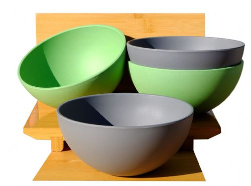 Eco-Friendly Green & Slate Grey Bamboo Fiber Round Bowls 640ml X4